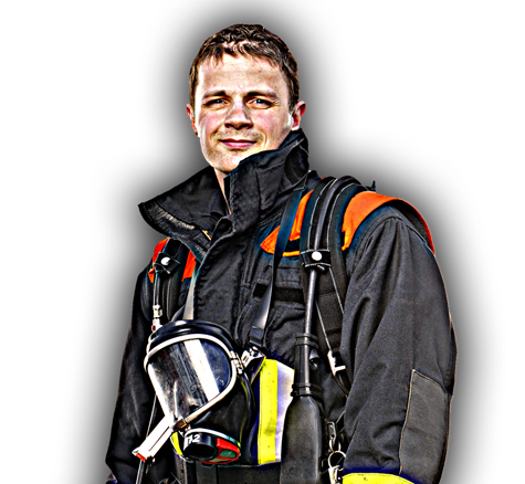 Male Firefighter Standing In Gear