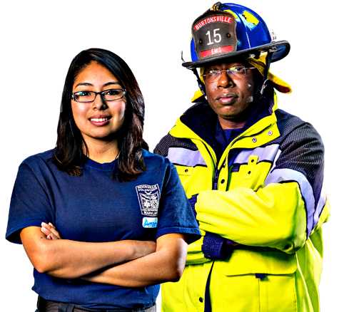 Male Firefighter And Female Emt