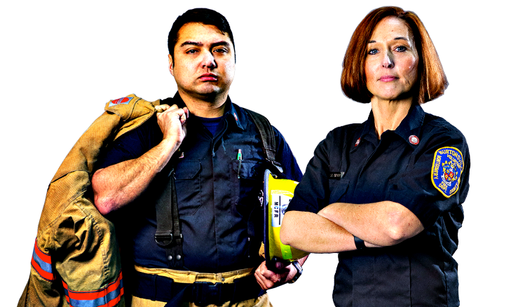 Man And Woman Firefighter Standing Together