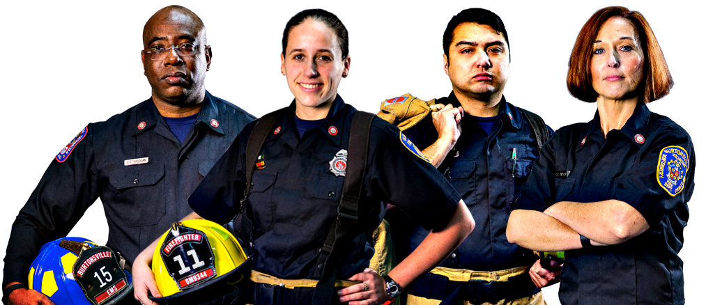 '2 Men And Two Women Firefighters Standing Together With Helmets And Gear