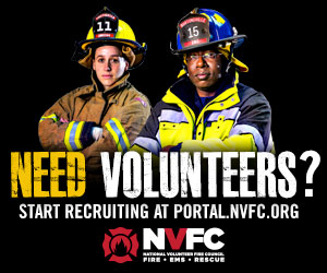300x250 Banner Ad With Male And Female Firefighters For Placement On Partner Websites