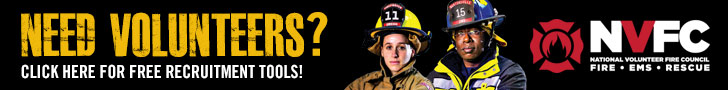 728x90 Banner Ad With Male And Female Firefighters For Placement On Partner Websites